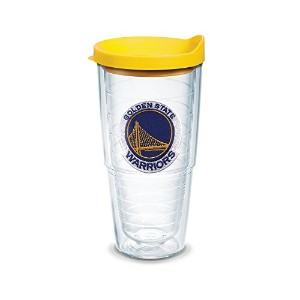 """Tervis 1051629"""" NBA golden St Warriors """" Tumbler withイエロー蓋、エンブレム、24オンス、クリア"""