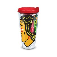"Tervis 1098762 "" NHL Chicago Blackhawks "" Tumbler withレッド蓋、ラップ、24オンス、クリア"