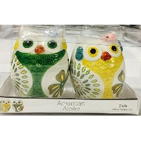 American Atelier Owls Salt & Pepper Shakers ,マルチ
