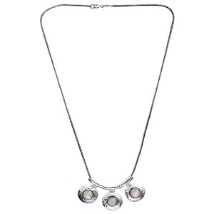 Faceted Triple Rainbow Moonstone Necklace - Sterling Silver