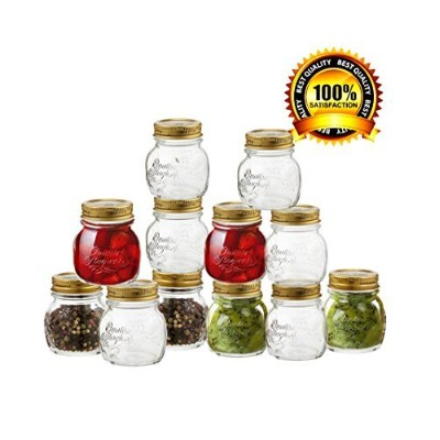 Bormioli Rocco Quattro Stagioni 12 Piece, 8.5 oz Glass Decorative Mason Jar Set for Canning / Spice...