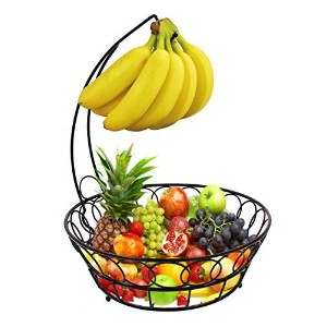 ESYLIFE Fruit Baskets Stand Wire Basket with Banana Hanger, Black by Esy-Life