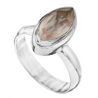 Faceted Gemstone Marquis Ring - Sterling Silver - Color Rose Quartz Ring Size 6