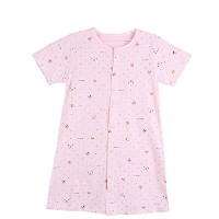 fulaixi 子供ベビー服 綿100% 子供用 通気ネグリジェ 半袖パジャマ (110, ピンク)