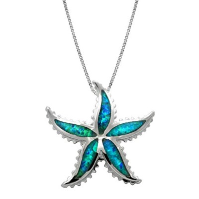 Sterling Silver Starfish Necklace Pendant with Blue Opal and Box Chain