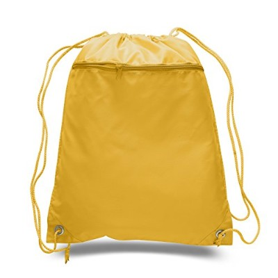 (Gold) - (12 Pack) Set of 12- Economical Drawstring Polyester Backpack with Front Pocket (Gold)