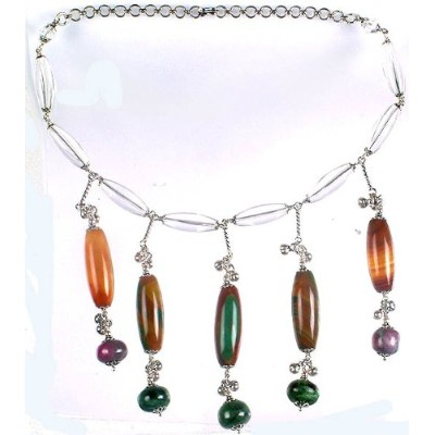 Fluorite and Ruby Zoisite Danglingクリスタル付きネックレス スターリングシルバー