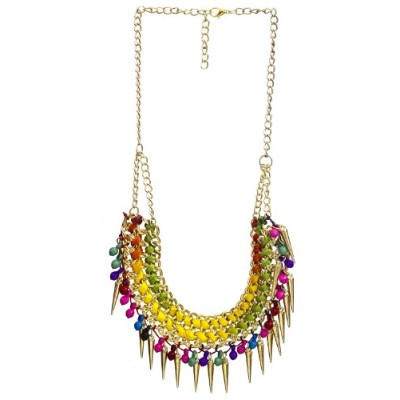 Necklace with Spikes - Brass - Color Multi Color