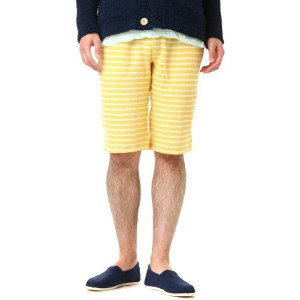 v::room(ヴイルーム) / MEN'S GAUZE FLEECE BORDER BERMUDA SHORTS (フリース ボーダー ショーツ)【PIE】