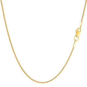 14k Yellow Gold Round Wheat Chain Necklace, 1.15mm, 24""