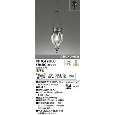 ODELIC(オーデリック) LEDペンダントライト 【調光対応】※調光器別売※ 透明・泡入:OP034259LC