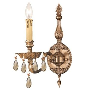 Crystorama照明グループ2501-cl Novella 1Light Candleスタイル壁取り付け用燭台with、 2501-OB-GT-MWP 1