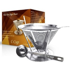 c-cupステンレススチールpour Over Coffee Dripper with Removable Cup Stand andスクープ–最大4カップ
