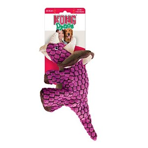 Kong Dynos Triceratops Squeaky Crinkle Interactive Fun Pet Play Toy Pink Large