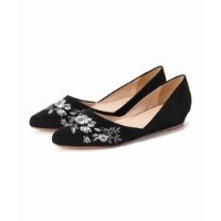 EMBROIDERY POINTED FLAT SHOES【アイボリー コート/ivory court レディス その他(シューズ) ブラック A ルミネ LUMINE】