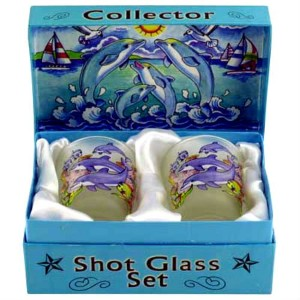 Dolphins Jumping Boxed Shot Glass Set (Set of 2) by World By Shotglass