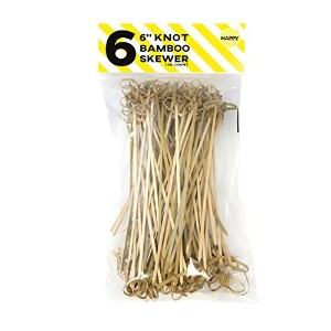 "Happy Sales Bamboo Knot Skewers 4 "" 100 pc、6 x 3.2 X 1.7 "" 6"" HSBS100-6"