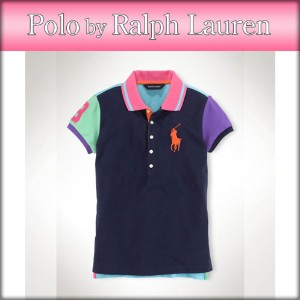 【25%OFFセール 2/16 10:00~2/20 9:59】 ポロ ラルフローレン キッズ POLO RALPH LAUREN CHILDREN 正規品 子供服 ガールズ ポロシャツ Color-Blocked Polo Shirt #15544656 NAVY