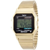 Timex タイメックス メンズ 腕時計 Digital Quartz Watch with LCD Display and Gold Stainless Steel Bracelet...