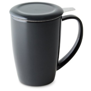 FORLIFE Curve Tall Tea Mug with Infuser and Lid 15 ounces, Black Graphite by FORLIFE