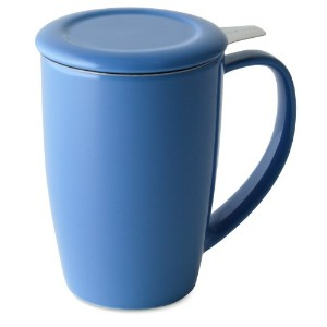 FORLIFE Curve Tall Tea Mug with Infuser and Lid, 15-Ounce, Blue by FORLIFE