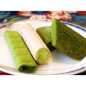 Matcha Saclet wafter(16 rolls)Matcha cream roll(16 rolls)Matcha Financier baked pastry(8pastries)...