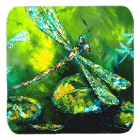 "Caroline 's Treasures mw1128fc insect-dragonfly夏Flies Foam Coasters ( Set of 4 )、3.5 "" H x 3.5 "" W ..."