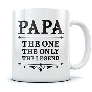 PAPA The One The Only The Legend コーヒー マグ 父の日 お父様 お祖父様 用 贈り物 最適 誕生日 クリスマス プレゼント 父親 お祖父さん 用 息子 娘 妻 孫...