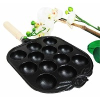 Personal Size Traditional Cast Iron Japanese Takoyaki And Dessert Cake Cooking Pan by Gifts & Decors