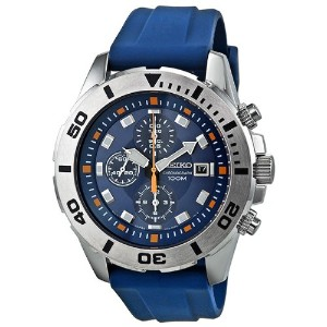 Seiko Blue Dial Chronograph Blue Rubber Mens Watch SNDE03