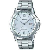 Casio mtp-vs02d-7 aメンズ標準SolarステンレススチールGrey Dial Date Watch