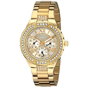 GUESS Women's U0111L2 Sparkling Hi-Energy Mid-Size Gold-Tone Watch/ゲス/腕時計/並行輸入品