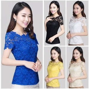 Sexy Women Summer Lace Floral T-shirt Short Sleeve Stretch Slim Tops Blouse Tee Shirt