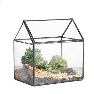 House Shape Close Glass Geometric Terrariumn Tabletop Succulent Plant Box Planter Moss Fern with...