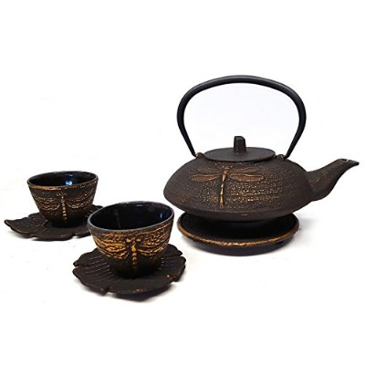 Happy Sales Cast Iron Tea Set Dragonfly Black & Gold