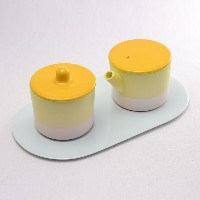 S&B Milk Can & Sugar Can & Platter Set Yellow/Light pink セット 【あす楽対応】 ( 1616 / arita japan ミルクポット...