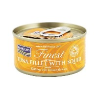 【FISH4CATS】フィッシュ4キャット缶詰「ツナ&イカ」TUNA FILLET WITH SQID/ケース(70g×10 缶入)