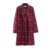 Plaid Pattern Notched Collar Womens Long Coat