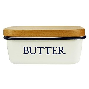 Butter Dish - Enamel Butter Boat with Wooden Lid White - By Svebake by Svebake
