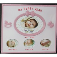 Baby Photo Frame - My First Year PINK by Unknown