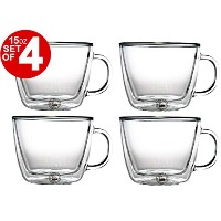 Bodum Bistro Double-Walled Transparent 15 Ounce Cafe Latte Mug, Set of 4 by Bodum