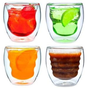 Curva Artisan Series Double Wall Beverage Glasses and Tumblers - Unique 8 oz Thermo Insulated...