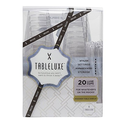 WNA 20 Piece Tableluxe Cups with Swizzle Sticks, Clear