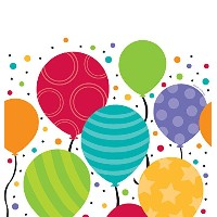 Creative Converting 721902ShimmeringバルーンCelebrations Plastic Tablecover、48by 88インチ、マルチカラー