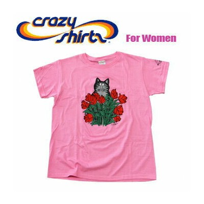 Crazy Shirts(クレイジーシャツ)-Womens- S/S Mini Tee @Kliban Cats[1020872] LONG STEM ROSE CAT クリバンキャット/半袖...