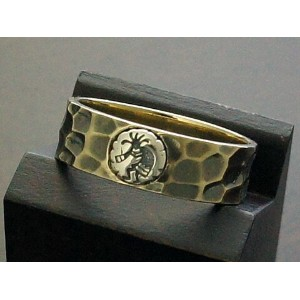 【good vibrations×various jewelry】【精霊ココペリ】 Brass/Silver925 槌目リング(古美)