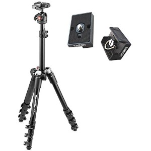 Manfrotto Befree One Aluminum トラベル Tripod - ブラック w/ Carrying ケース and Two Ivation リプレイスメント プレート for...