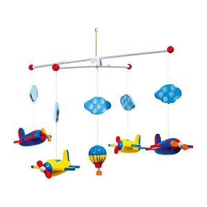Aeroplane and Balloon Wooden Ceiling Mobile by Legler