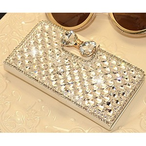 White Luxury 3D Fashion Bling Diamond Bow Bone PU Flip Wallet Leather Case Cover For Smart Mobile...