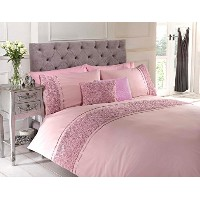 Pink Double Duvet Quilt Cover Bed Set Bedding Raised Rose Ribbon Band Polycotton by Homespace Direct